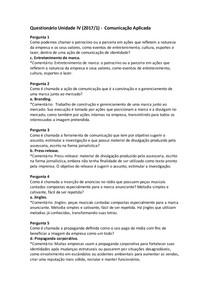 Questionário Unidade IV (2017/1) -  Comunicação Aplicada