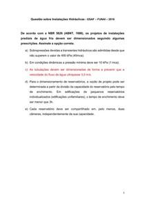 Questão sobre Instalações Hidráulicas - ESAF FUNAI 2016