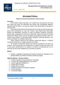 ATIVIDADE PRATICA   PERÍODO DE OSCILAÇÃO DE UM PÊNDULO ELÁSTICO EM MHS   kit polo