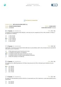 Matemática Financeira - Avaliando o Aprendizado