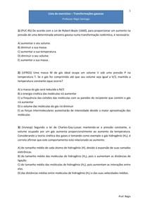 Lista de exercícios - Gases e Transformações gasosas - Questões de vestibulares (com gabarito)