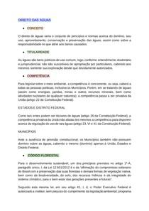DIREITO DAS ÁGUAS - QUESTÕES PRINCIPAIS E AGENTES RESPONSÁVEIS