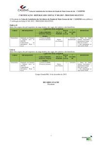 1ª RETIFICAÇÃO - REPUBLICADO - EDITAL Nº 001-2015 - PROCESSO SELETIVO - CASSEMS - COSOLIDADO