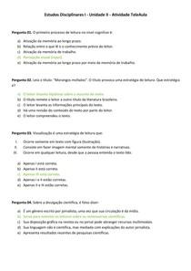 Estudos Disciplinares I - Unidade II - Atividade TeleAula