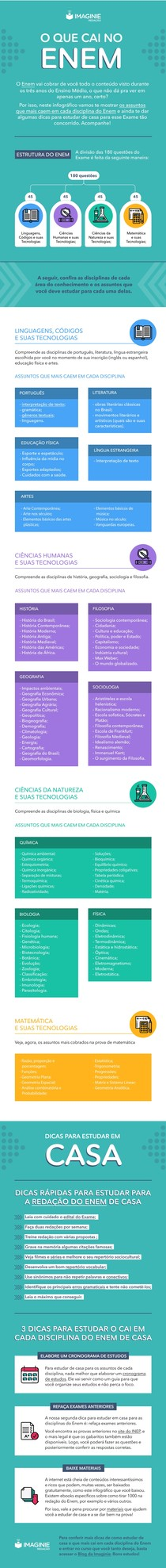 Infográfico Matérias que Caem no ENEM (Imaginie)