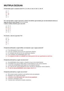 Compilado de Provas de Estatística - UNIP EAD