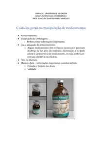 Cuidados gerais na manipulação de medicamentos
