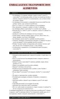 RESUMO - EMBALAGEM E TRANSPORTE DOS ALIMENTOS