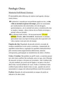 Patologia Clínica - perfil renal monitoria