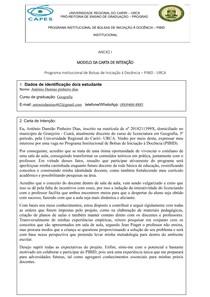 carta de intenção para bolsa do (PIBID), Modelo