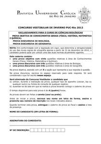PUC RJ 2012 (2) - prova Ciências da Natureza (questões objetivas)