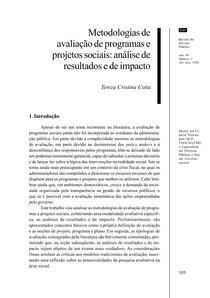 Aula 13 e 14 Texto Básico COTTA TC Metodologias de Avaliação de Programas e Projetos Sociais