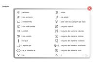 Tabela de Simbolos dos Conjuntos