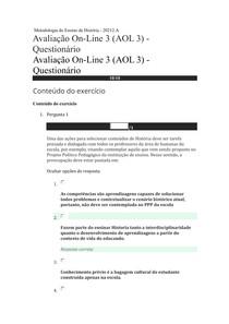 AOL3 Metodologia do Ensino de História