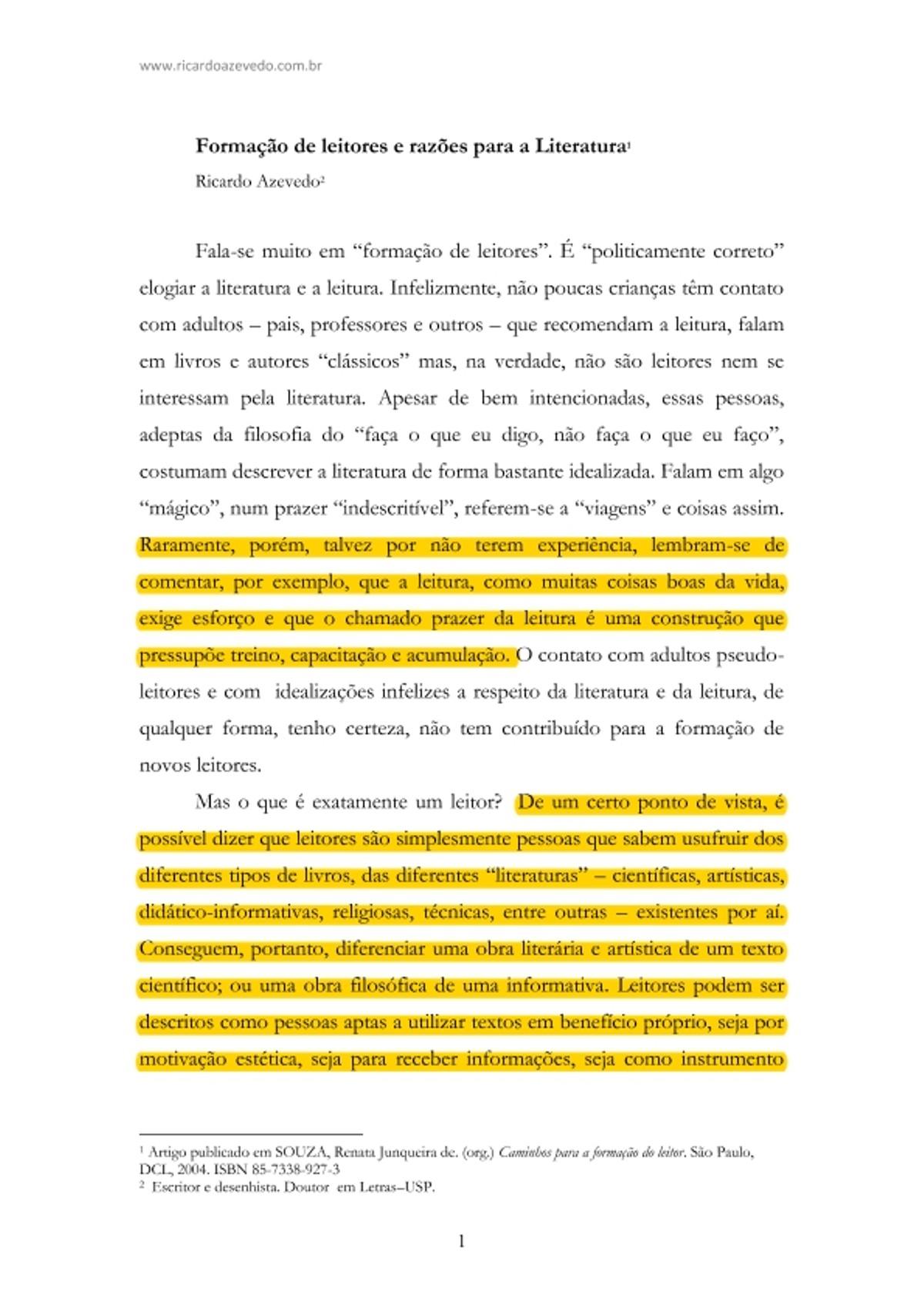 Pre-visualização do material AZEVEDO. Formação de leitores e razões para literatura - página 1