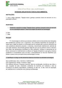 -Toxicologia Ambiental-Avaliação 1-