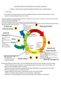 RESUMO DOS TUTORIAIS 4A FASE - MÓDULO 1 - PROLIFERAÇÃO CELULAR