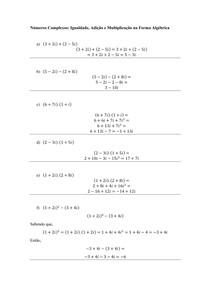 Números Complexos - Igualdade, Adição e Multiplicação na Forma Algébrica