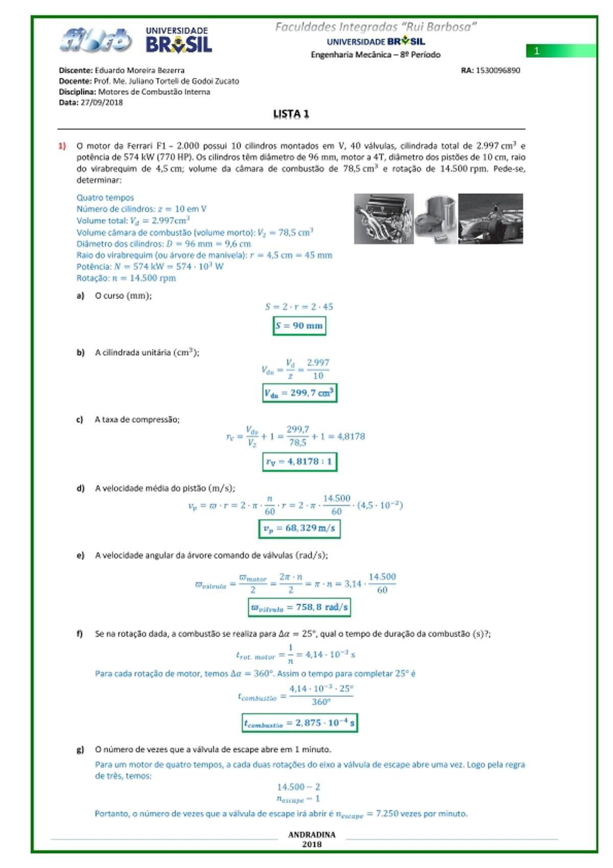 Pre-visualização do material LISTA 1 EXERCÍCIOS MOTORES COMB INTERNA - página 1