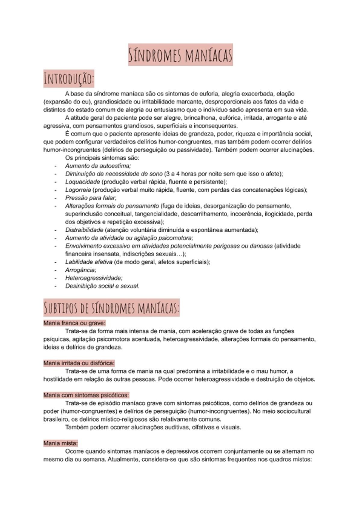 Pre-visualização do material Síndromes Maníacas (bipolaridade) - página 1