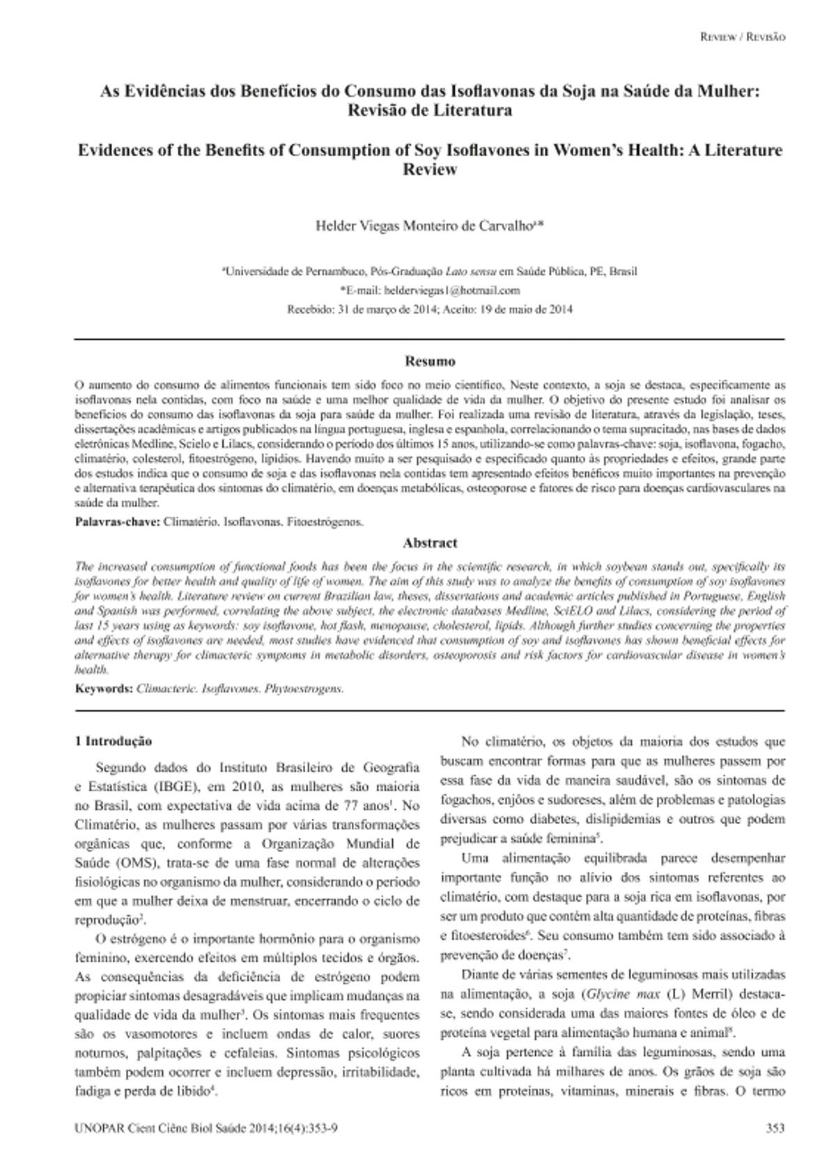 Pre-visualização do material As Evidências dos Benefícios do Consumo das Isoflavonas da Soja na Saúde da Mulher: Revisão de Literatura - página 1