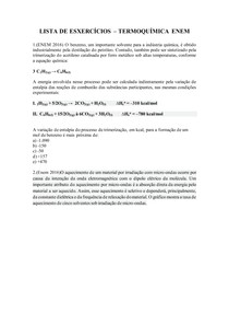 Lista de exercícios termoquímica ENEM