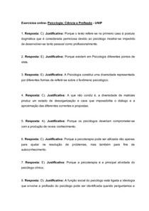Respostas das EDS de Psicologia Ciência e Profissão Décimo semetre