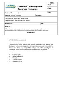 Atividade 2 Psicologia Empresarial (UNIGRAN)