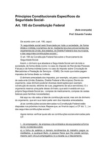 Princípios Constitucionais Específicos da Seguridade Social art 195 parte 1 - aula 3 avançada