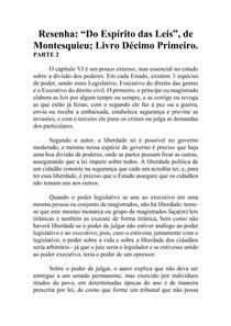 Resenha - Do Espírito das Leis - Montesquieu - Livro XI (parte2)