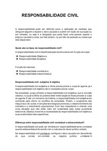 RESPONSABILIDADE CIVIL - RESUMO INTRODUTÓRIO