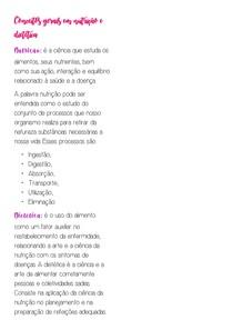 Conceitos gerais em nutrição e dietética
