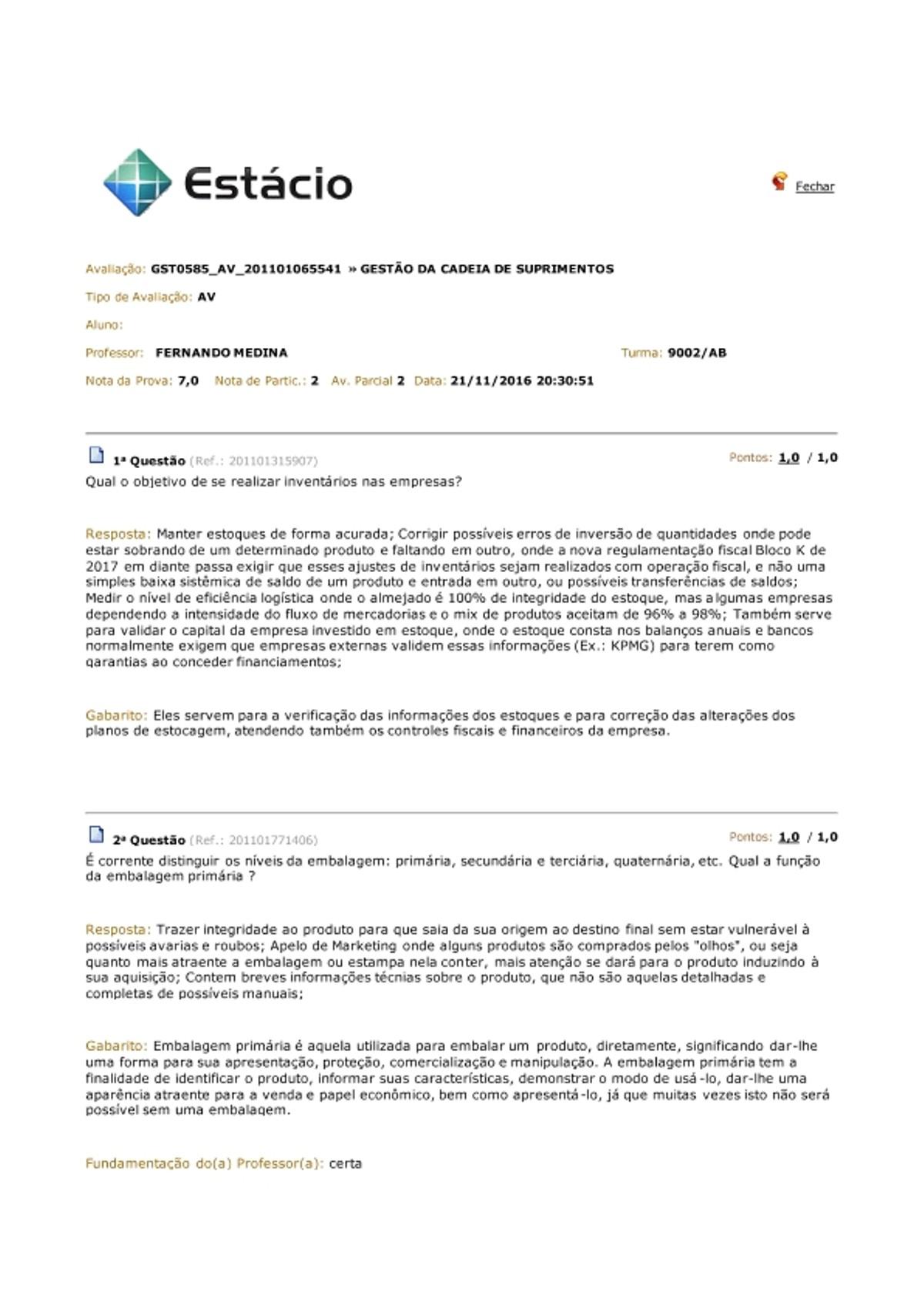Pre-visualização do material AV GESTÃO DA CADEIA DE SUPRIMENTOS - Nov. 2016 - página 1