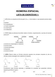 Isomeria Espacial - Lista de exercícios 1 (Prof Brasil)