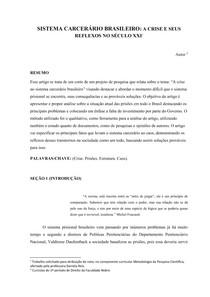 ARTIGO CIENTÍFICO SOBRE SISTEMA CARCERÁRIO BRASILEIRO: A CRISE E SEUS REFLEXOS NO SÉCULO XXI