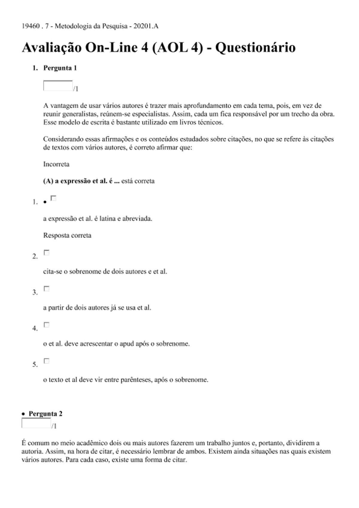 Pre-visualização do material Avaliação On-Line 3 (AOL 3) - Metodologia da Pesquisa - página 1