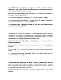 QUESTÕES OBJETIVAS DE SINDICALISMO E NEGOCIAÇÃO COLETIVA