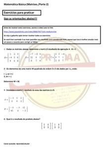 Questões Matrizes/Parte 2 - (Operações de soma, subtração e multiplicação)#EXCLUSIVOPD