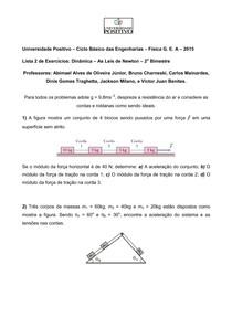 Lista 2 de Exercícios Dinâmica   As Leis de Newton 2o BIM CB UP 2015