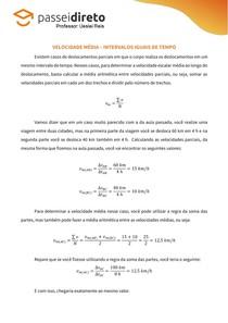 Resumo 06 - Velocidade Média (intervalos iguais de tempo)
