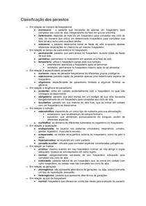 Classificação dos Parasitos