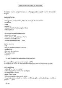 Exames Complementares em Nefrologia