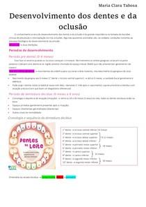 Ortodontia - Desenvolvimento dos dentes e da oclusão