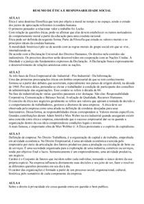 RESUMO DE ÉTICA E RESPONSABILIDADE SOCIAL