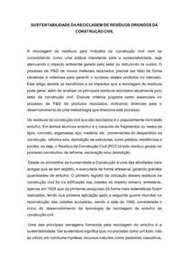 SUSTENTABILIDADE DA RECICLAGEM DE RESÍDUOS ORIUNDOS DA CONSTRUÇÃO CIVIL