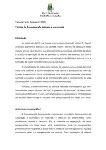 Técnica de Cromatografia aplicada a agronomia