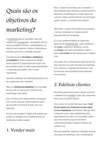 Quais são os objetivos do marketing