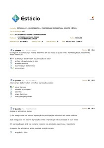 Simulados AV1 AV2 AV3 Propriedade Intelectual Direito E ÉTICA