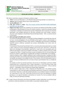 Prática Pedagógica - Ficha de Leitura sobre AEE e Educação Inclusiva