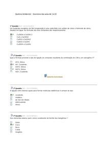 Química Ambiental exercícios das aulas 1 à 10